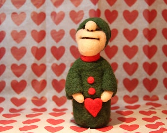 Valentine Handcrafted Needle Felted Wool Doll - Pixie and Heart
