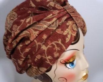 Wool, silk, fashion turban, hat, wine, bohemian, full turban, winter, vintage style, designer. Size Sm, Med, L, XL.  Free shipping in USA.