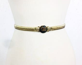 Vintage 1970s Gold Skinny Stretch Belt with Round Buckle