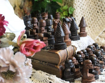Unique Vintage Hand Carved African Chess Set