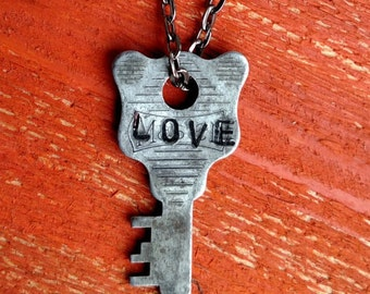 "Hand Stamped Vintage Key ""LOVE"" Necklace (#397) - Jewelry Necklace Pendant Custom"