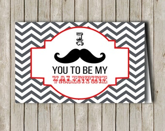 Custom Printable Mustache Valentine Treat Bag Topper