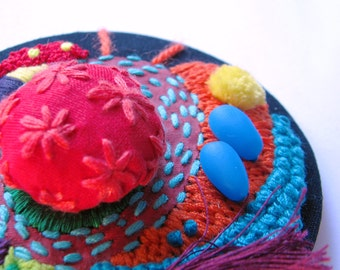 Embroidered Textile Art Brooch - Pattern Jewery - Tassel Brooch - Colorful Texture Brooch - Free shipping Embroidery Jewelry - Fabric Brooch