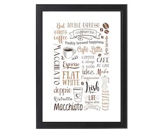 Coffee Print, Coffee Types Typography Print, Coffee Poster, Kitchen Print, Kitchen Wall Art, Coffee Lovers Gift, Coffee Wall Art, Espresso