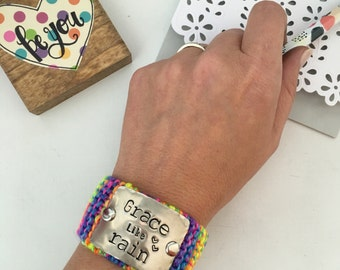 Colorful Bracelet, Christian Gift for Women, Hand Stamped Bracelet, Inspirational Jewelry
