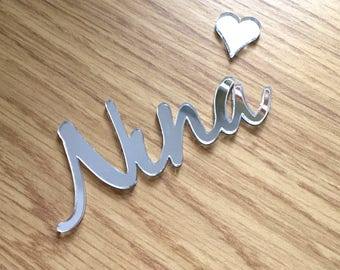 Silver Mirror Perspex Name - Place names for table decoration and arrangements