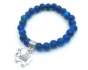 Blue elephant bracelet, blue elephant jewellery, elephant gifts, silver elephant charm bracelet, stretch bracelet, elephant lovers gift