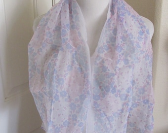Pink Floral Sheer Nylon Scarf Long - Affordable Scarves!!! Why Pay More! (4E)