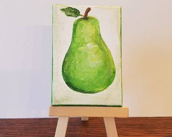 Pear Painting. Tiny Painting. Fruit Painting