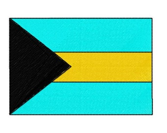 Buy 1 Take 1 Embroidery Design, Bahamas Flag Machine Embroidery Design, Instant Download, Fits 4x4 Hoop Size, 9 Formats