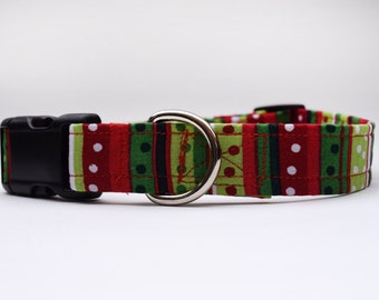 Dots and Stripes Holiday Dog Collar