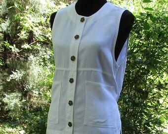 Boho WHITE TOP / VEST, Ivory Cream Sleeveless Button-Down Shirt, Vintage 90s Bohemian Soft Grunge Hippie, Sleeveless Tank Camp Shirt, summer
