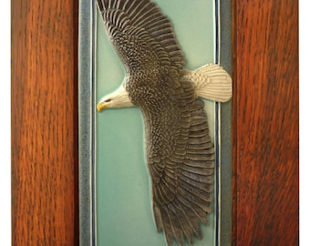 Framed Ceramic tile, Sculpture, ceramic, tile, wall art, ,Bald Eagle,  flying eagle
