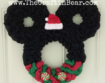 Christmas Mickey Mouse wreath - Burlap wreath - Santa Mickey - disney - Christmas wreath - Christmas Mickey - Christmas Mickey Decor