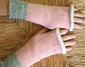 Hand Knit Wool Blend Fingerless Gloves