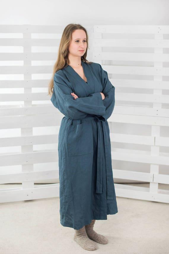 Linen BATH ROBE - unisex - linen homewear - linen man robe - linen women robe, pine green robe, 100% Linen Robe