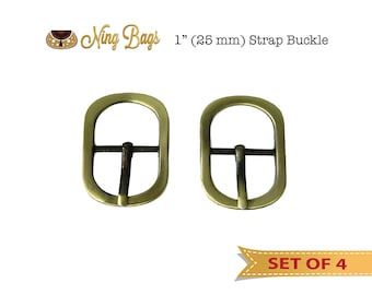 """Set of 4 // 1"""" Strap Buckle, Pin Buckle for Handbag, Purse, Tote  / Strap Adjuster, Bag Hardware in Brushed Antique Brass"""