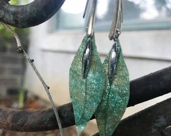 Kombucha leaf earrings with silver accent and solid silver hooks- 1.5""