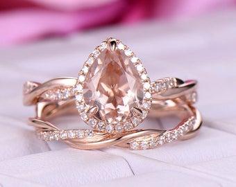 2 pcs 7x9mm Pear Cut Morganite Engagement ring/14k Rose gold/Halo Stackable/Art deco infinity wedding band/Full erternity wedding band/Pave