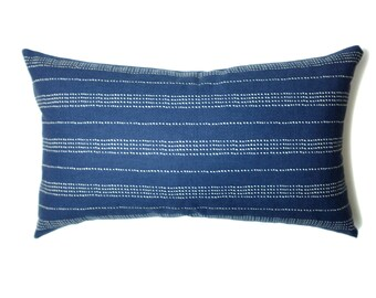 Navy Pillow Cover | Minimalist Dotted Stripes | Lumbar | 'Uma'