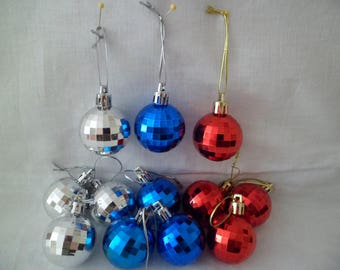"""Vintage Set of 12 Plastic Disco Ball Christmas Tree Ornaments 1 1/2"""" Red Silver Blue"""