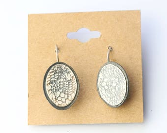 Silver and Copper Lace Oval Earrings