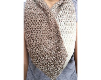 Chunky infinity cowl scarf, Infinity scarf cowl, Crochet infinity cowl, crochet infinity scarf, cream and taupe infinity scarf, gift for her