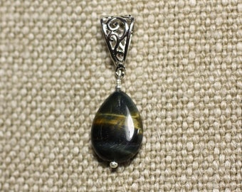 Stone - Tiger eye and Falcon 18mm Teardrop Pendant Necklace