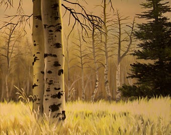 """Art print of an acrylic painting by Ria Spencer titled, """"Two Trees""""."""