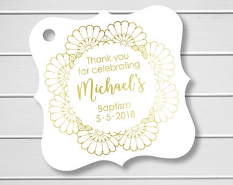 Foiled Thank you for Celebrating Baptism Tags, Gold Foiled First Communion Hang Tags, (FS-527-2-F)