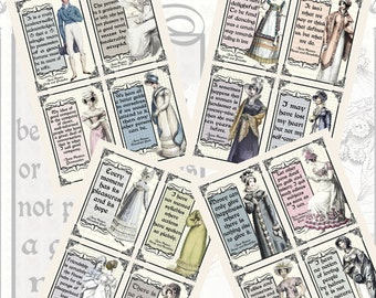 Jane Austen's Quotes and Regency Fashions Printables, POSTCARD SIZE, (3.5 x 5 Inch or 12.7 x 8.8 cm), 16 Total