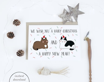 Christmas printable funny cat christmas cards instant christmas printable funny cat christmas cards instant download merry christmas cute illustrated christmas m4hsunfo