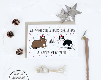 Christmas Printable, Funny Cat Christmas Cards Instant Download, Merry  Christmas, Cute Illustrated Christmas Cards To Print For Cat Lovers