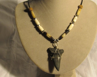 Silver & Bone  bead necklace with Extinct Mako tooth. Ma 23