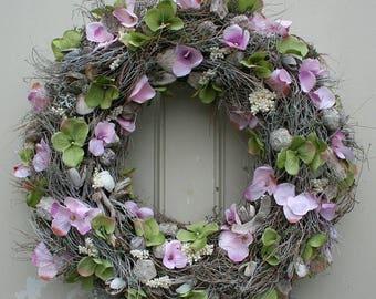Wreath door wreath with pink and green hydrangea silk flower 37 cm