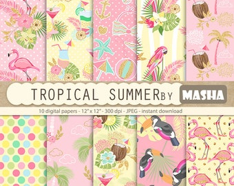 "Tropical digital papers: ""TROPICAL SUMMER"" with flamingo patterns, exotic digital paper, toucan pattern, parrot print, tropical patterns"