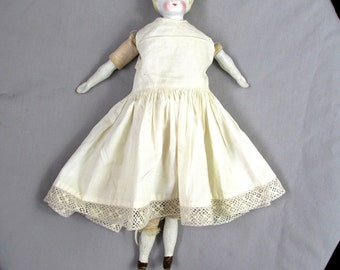 Antique China Doll Blonde Hair Blue Eyes 1890's  Collectible Doll Gift Item 2364