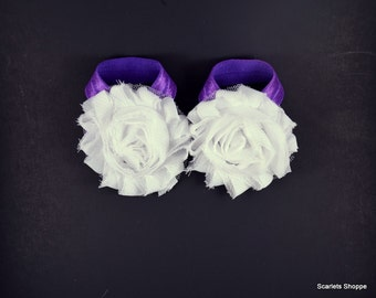 Barefoot Baby Sandals - White Purple - Shoe Clips -Baby Sandals - Baby Shoes - Infant Sandals - Baby Girl Gift - Baby Sandles