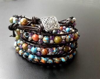 Wrap Bracelet 4 Wrap Leather bracelet Gemstone bracelet Beaded bracelet Quadruple wrap bracelet