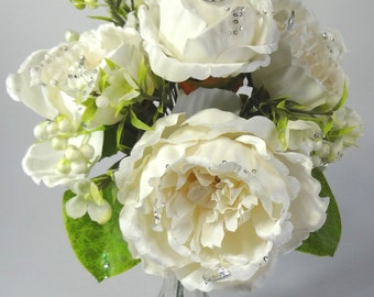"13"" Cream Peony Bouquet with Crystal (Pack of 2)"