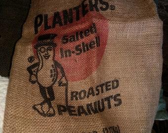 Vintage Mr.Peanut Planters Peanuts 5 lb burlap bag rare