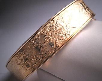 Antique Gold Bangle Bracelet Estate Victorian Floral