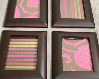 Flowers & Stripes by Phab Art - Phabric Art. Designer Fabric. Frames. Set of Four. Display Horizontal or Vertical. Unique Interior Art