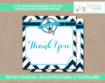 INSTANT DOWNLOAD, Nautical Baby Shower Favor Tags, Printable Baby Shower Favor Tags, Nautical Favor Tags, Blue, Navy, #0011