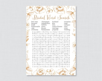 Gold Bridal Shower Word Search - Printable Gold Flower Bridal Shower Game - White and Gold Garden Bridal Shower Word Search Game 0027
