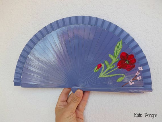 Lilac Floral Hand Painted Spanish Handheld Folding Fan by Kate Dengra Spain Eventail Ventaglio