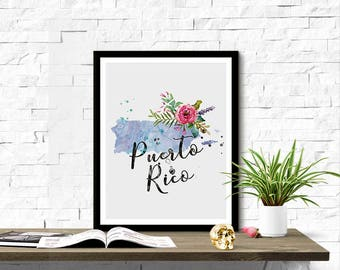 Instant Download Puerto Rico Shape Outline Floral 8x10 inch Poster Print - P1219