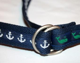 Mens Whale BElt Mens Anchor Belt Mens Anchor Belt Whale Belt Mens Ribbon Belt Preppy Belt Grey Belt Navy Belt