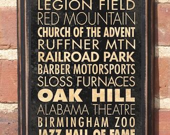 Birmingham, AL Points of Interest & Destinations Wall Art Sign Plaque Gift Present Home Decor Vintage Style Zoo Jazz Oak Hill Shoal Antiqued