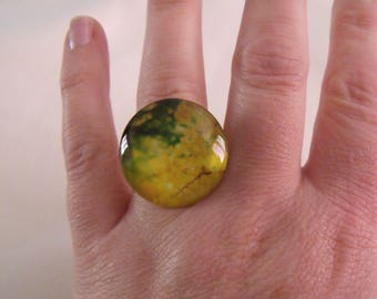 SALE 25mm floral yellow and green glass cabochon ring